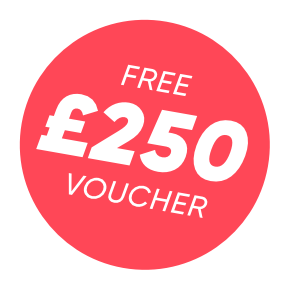 Text reading free £250 voucher