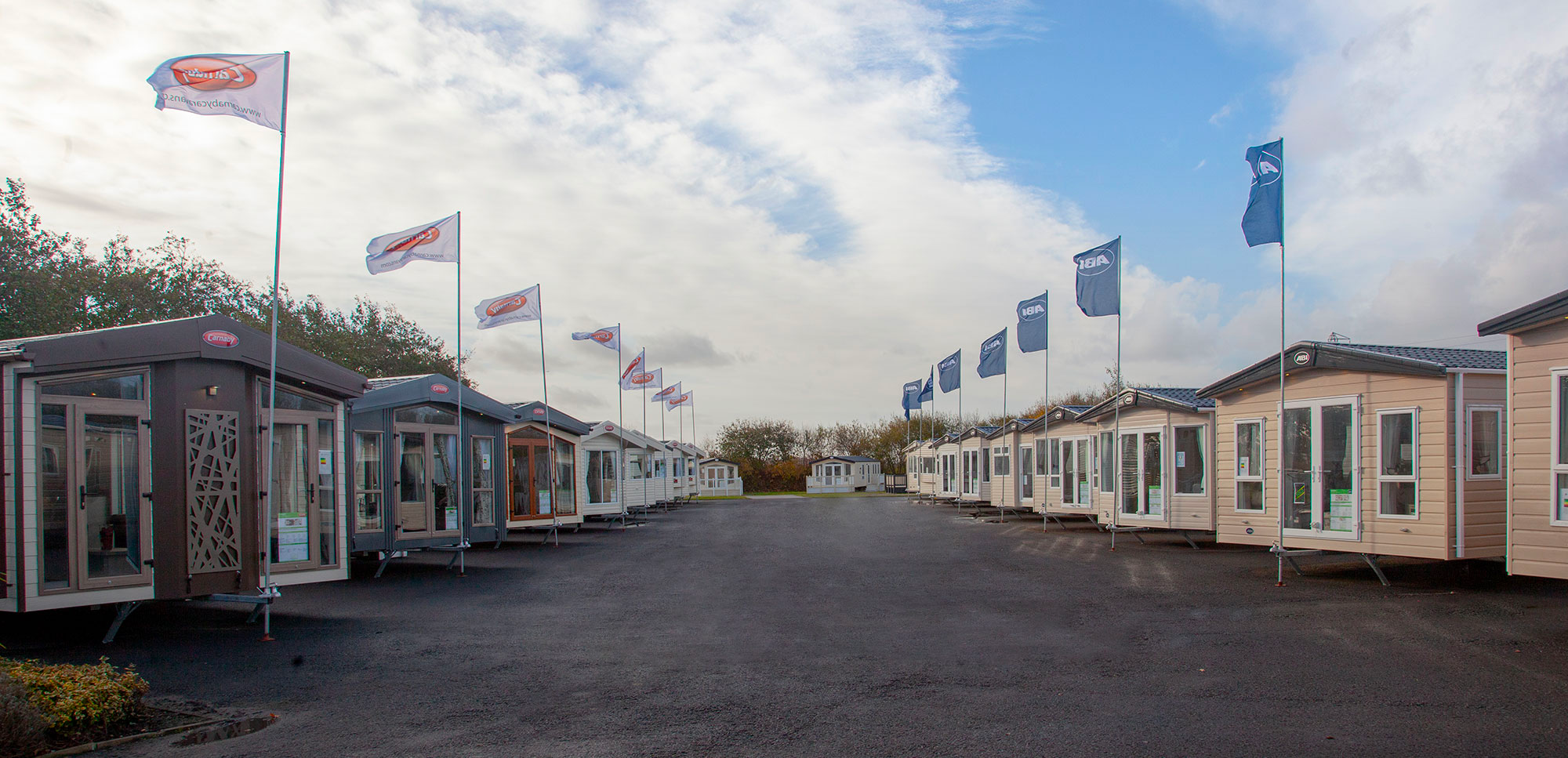 Photo of new holiday homes in rows at a New Statics For Sale show