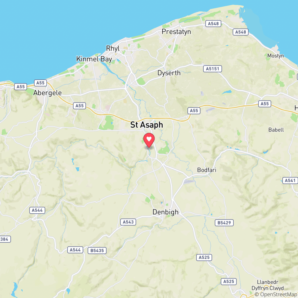 Map showing the location of Maes Elwy Caravan Park