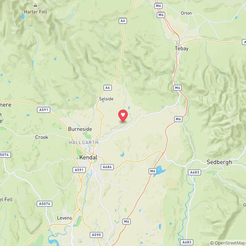 Map showing the location of Patton Hall Farm Caravan Park