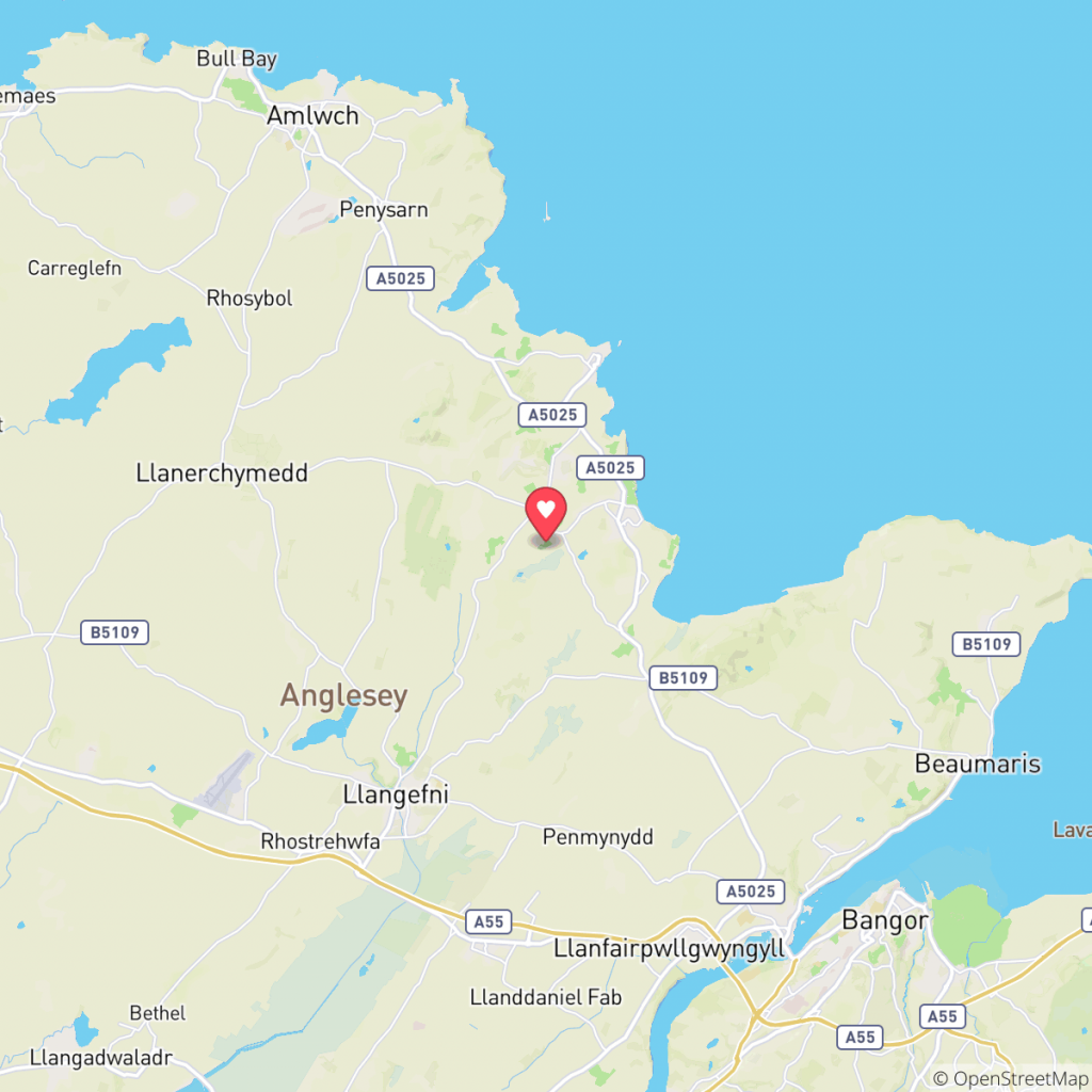 Map showing the location of Glan Gors Caravan Park
