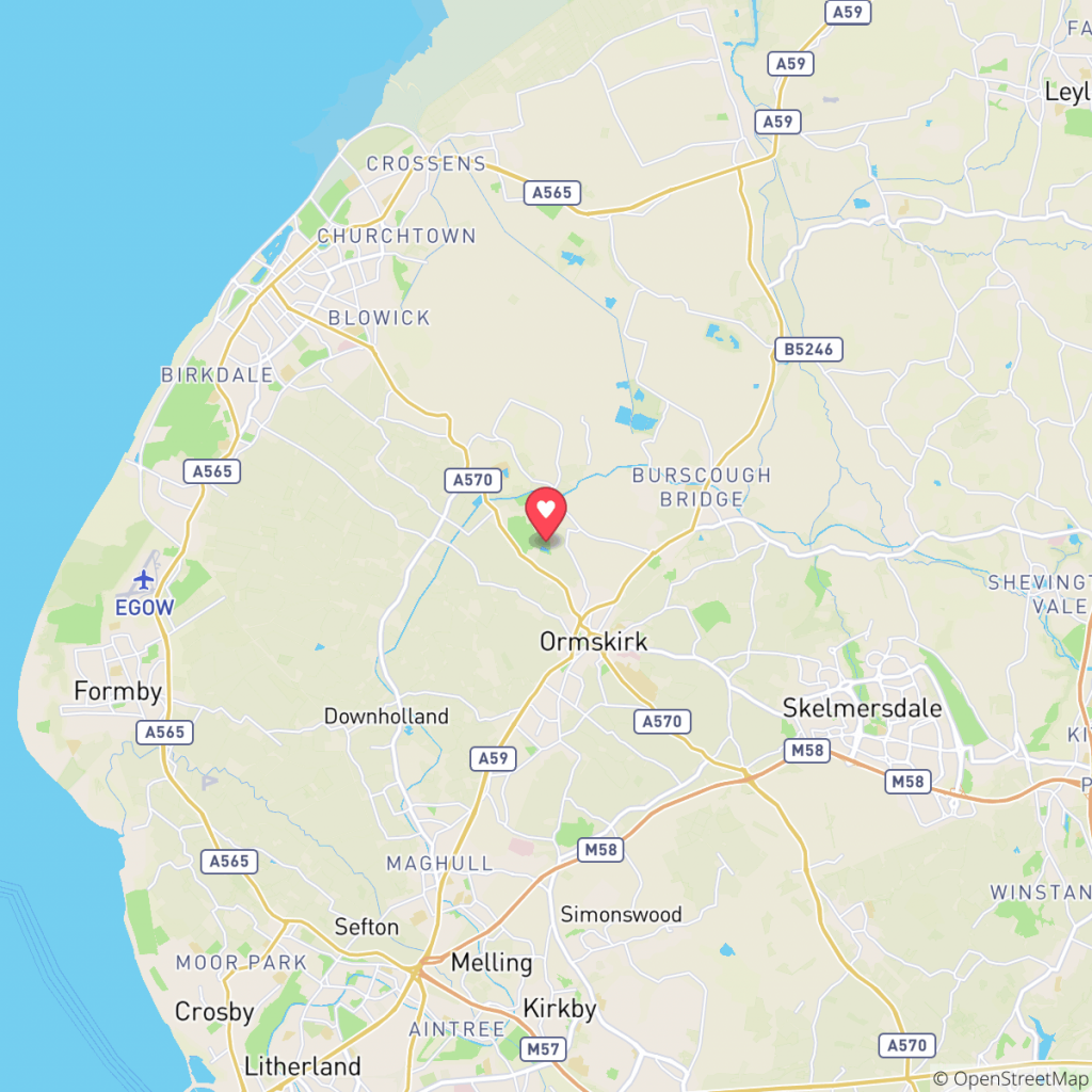 Map showing the location of Hurlston Hall