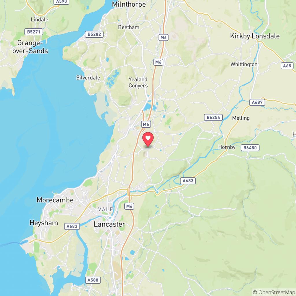 Map showing the location of Hawthorns Caravan Park