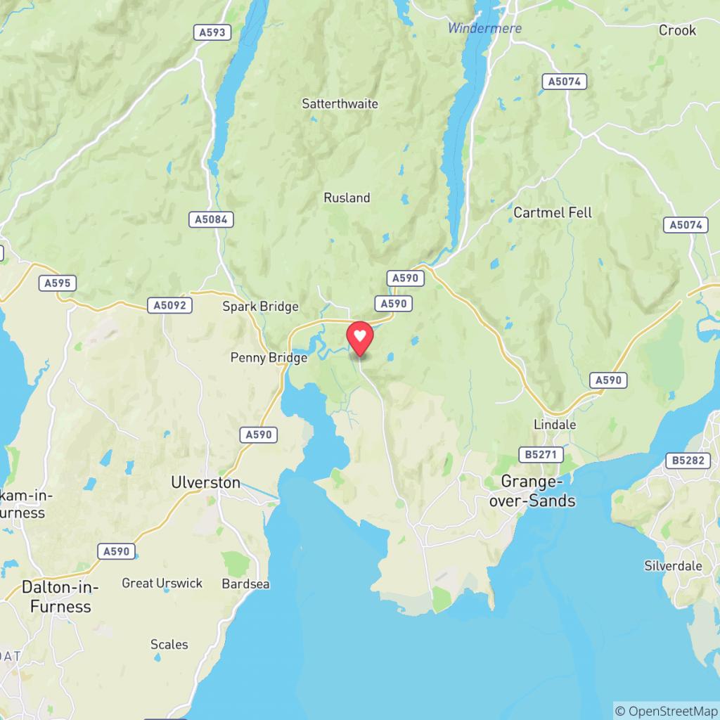 Map showing the location of Bigland Hall Caravan Park