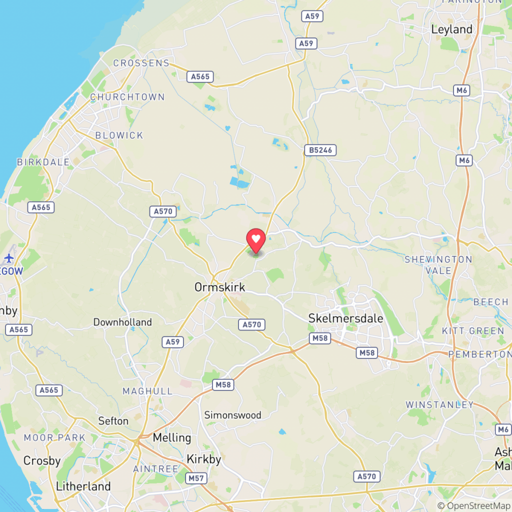 Map showing the location of Abbey Farm Ormskirk